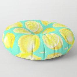 Watercolor lemons pattern Floor Pillow