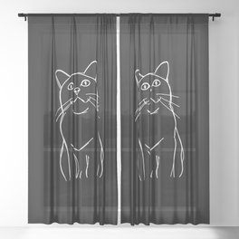 cat sketched on black Sheer Curtain