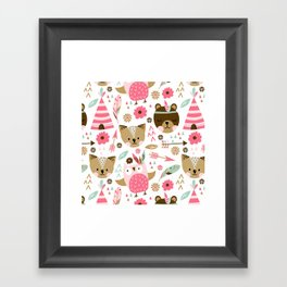 Camping with friends Framed Art Print