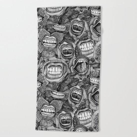 BITE ME roses and orchids BLACK WHITE Beach Towel