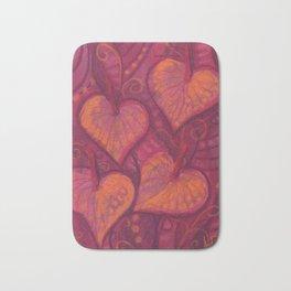 Hearty Flowers / Anthurium, pink, red & orange Bath Mat