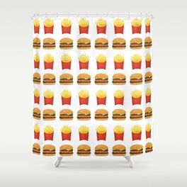 Burgers and Fries Pattern Shower Curtain