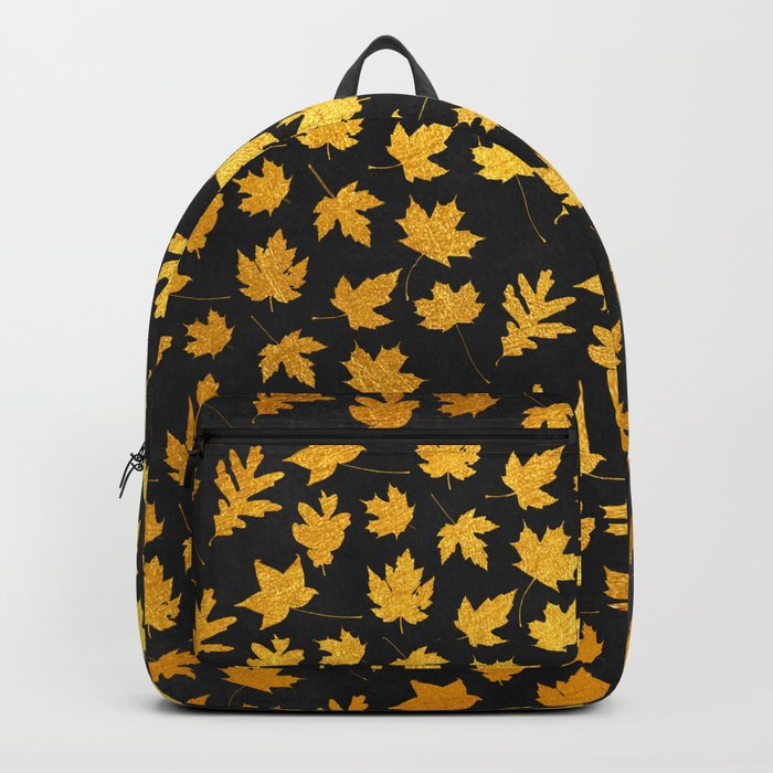AUTUMN - gold leaves on chalkboard background Backpack