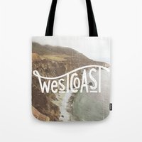 west coast Tote Bags featuring West Coast by cabin supply co