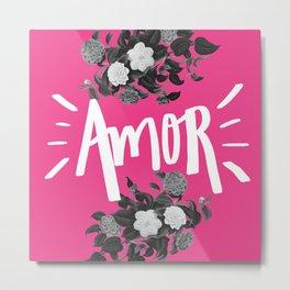 a m o r cor de rosa Metal Print