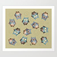 owls Art Prints featuring Owls by Catru