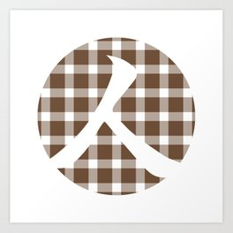 Plaid Coffee Brown Person Art Print