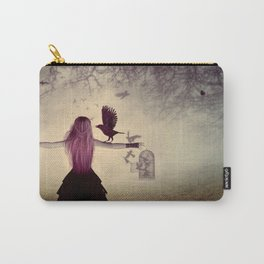 Dark foggy scene with witch woman with crows Carry-All Pouch