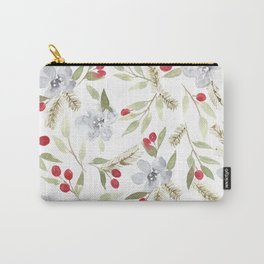 Winter Watercolor Floral Pattern Carry-All Pouch