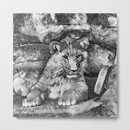AnimalArtBW_Lion_20171014_by_JAMColorsSpecial Metal Print