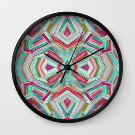 Turquoise Convex Adventures Pattern Wall Clock
