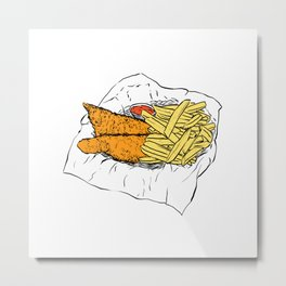 Illustration of a British Snack - Fish and chips Metal Print