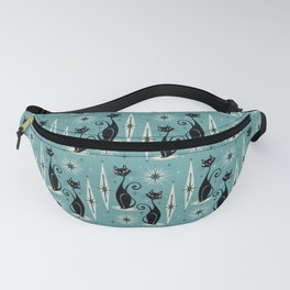 Mid Century Meow Retro Atomic Cats on Blue Fanny Pack