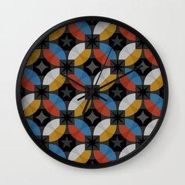 Interlacing circles parts retro hand drawn illustration pattern. Guatrefoil flower red diamond lattice endless ornament. Circle elements repeating background. Wall Clock