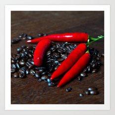 Hot Chilli & Coffee Beans Art Print
