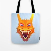 charizard Tote Bags featuring Flaming Dragon by Head Glitch