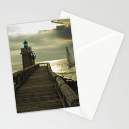Lighthouse and sailboat Stationery Cards