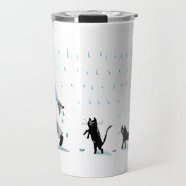 Man, fish, cats Travel Mug