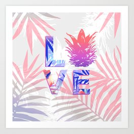 Love Pineapple Typography Tropical Boho Summer Vibes Art Print