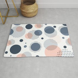 Abstract Modern Blue-gray, Pink, Yellow Dots Pattern Rug