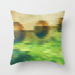 Green yellow triangle pattern, lake Throw Pillow