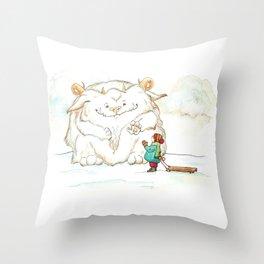 A Friendly Snow Monster Throw Pillow