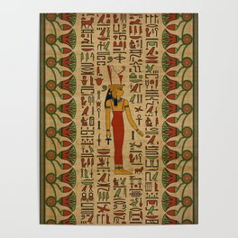Egyptian Mut Ornament on papyrus Poster