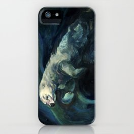 Polar Bear Swimming in Northern Lights iPhone Case