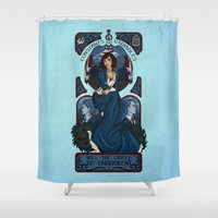 bioshock infinite Shower Curtains featuring Infinite Nouveau by Miss-Lys