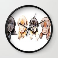 puppies Wall Clocks featuring cachorros ( puppies  ) by arnedayan