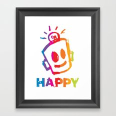 HAPPY  Stripes Framed Art Print