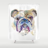 bulldog Shower Curtains featuring Bulldog by coconuttowers