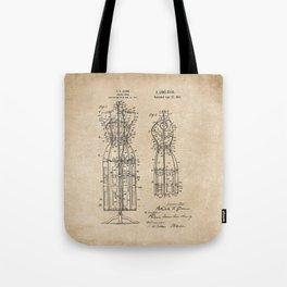 Vintage Dress Form Patent Drawing - Industrial Decor - Sewing - Vintage Design Tote Bag