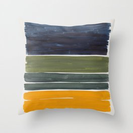 Minimalist Mid Century Color Block Color Field Rothko Navy Blue Olive Green Yellow Pattern by Ejaaz Haniff Throw Pillow