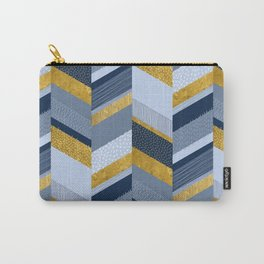 Chevron with Textures / Gold Effect and Denim Blue Carry-All Pouch