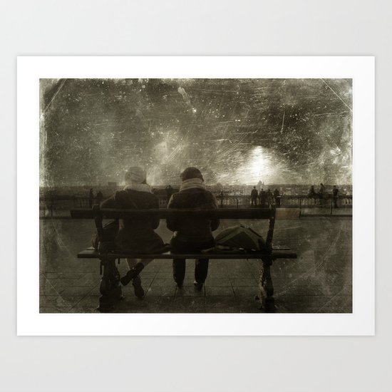 ON THE BENCH Art Print