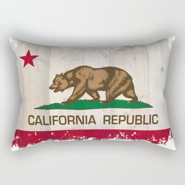 California Republic flag on woodgrain   Rectangular Pillow