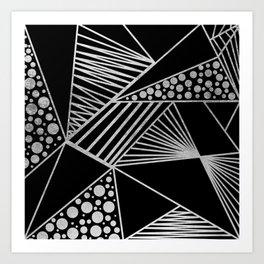 Modern geometrical black faux silver blush chic pattern Art Print