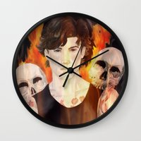 stephen king Wall Clocks featuring Stephen Richards by Alice Rachel