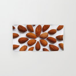 pattern from almonds seeds on a white background Hand & Bath Towel