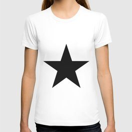 Single black star on white T-shirt