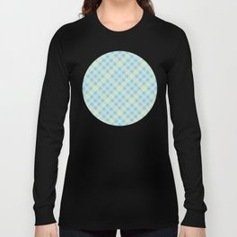 Yellow, Blue & Orange Plaid Pattern with Green Background Long Sleeve T-shirt