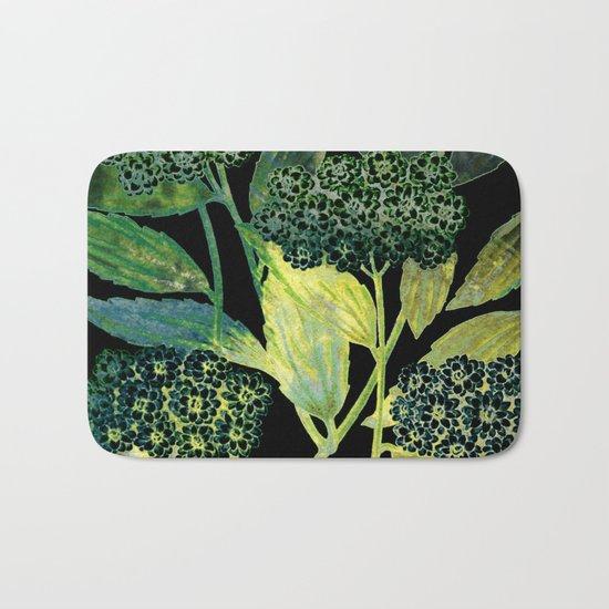 Dark floral with golden accent Bath Mat