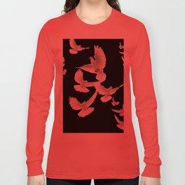 WHITE PEACE DOVES ON BLACK COLOR DESIGN ART Long Sleeve T-shirt