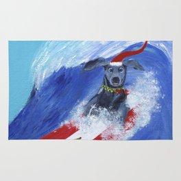 Christmas Surfing Weimaraner Rug