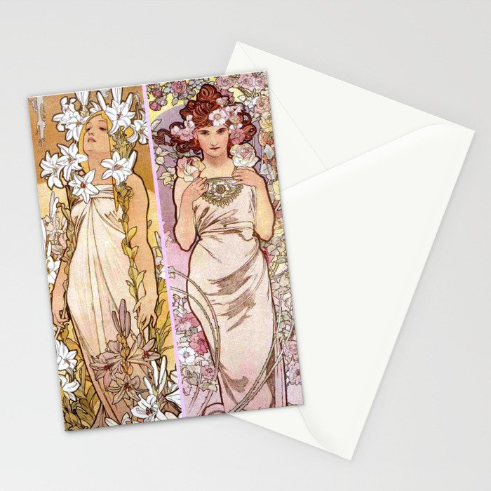 "Alfons Mucha, "" four flowers "" Stationery Cards"