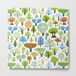 Whimsical Trees Pattern Metal Print