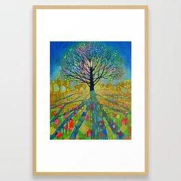 Oak tree in the morning Framed Art Print