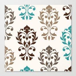 Heart Damask Art I Browns Teal Cream Canvas Print