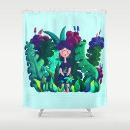 Floral Jungle Frida Kahlo Colorful Illustratration Shower Curtain